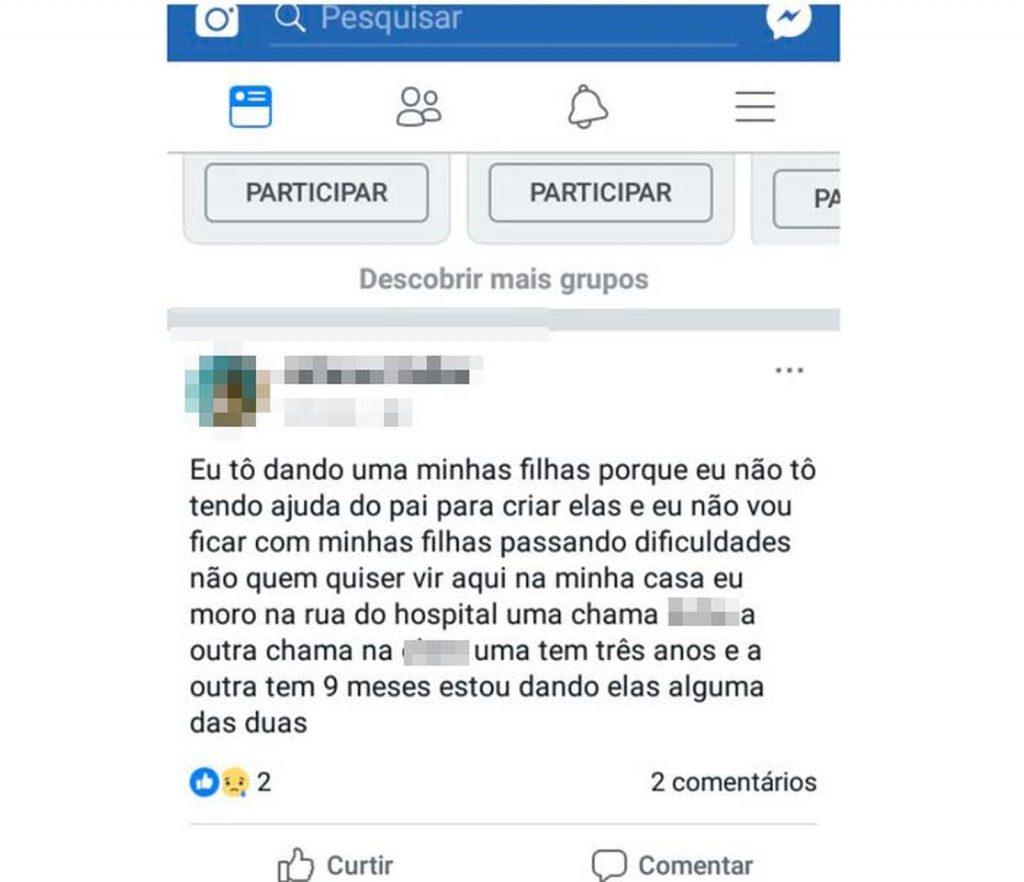 Mulher na Bahia anuncia doação de filhas pelo Facebook e post viraliza