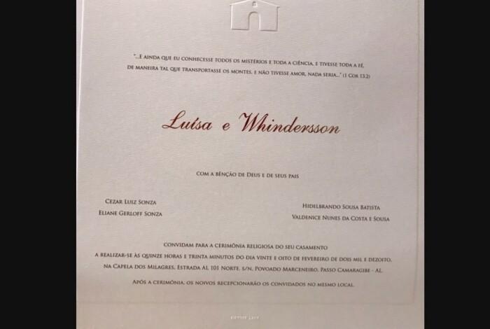 Piauiense Whindersson Nunes e Luísa Sonza se casam em Alagoas; fotos