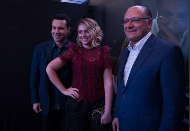 Renato e Cristiane Cardoso ao lado de Geraldo Alckmin, governador de São Paulo