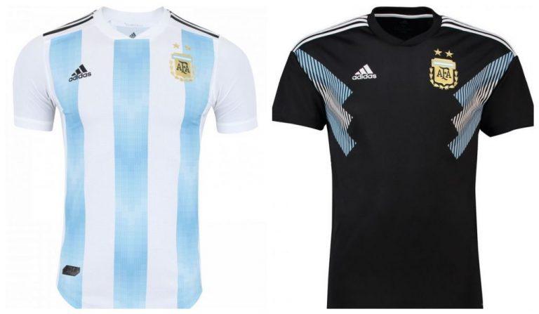 Camisa oficial e de reserva da seleção da Argentina