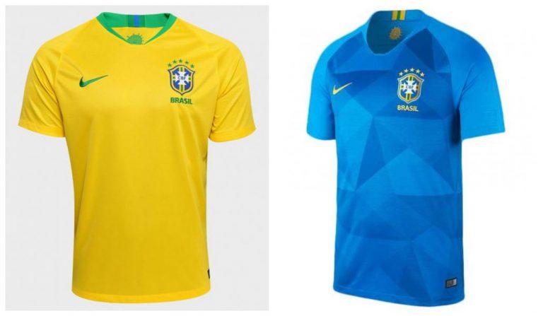 Camisa oficial e de reserva da seleção do Brasil