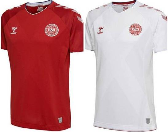 Camisa oficial e de reserva da seleção da Dinamarca