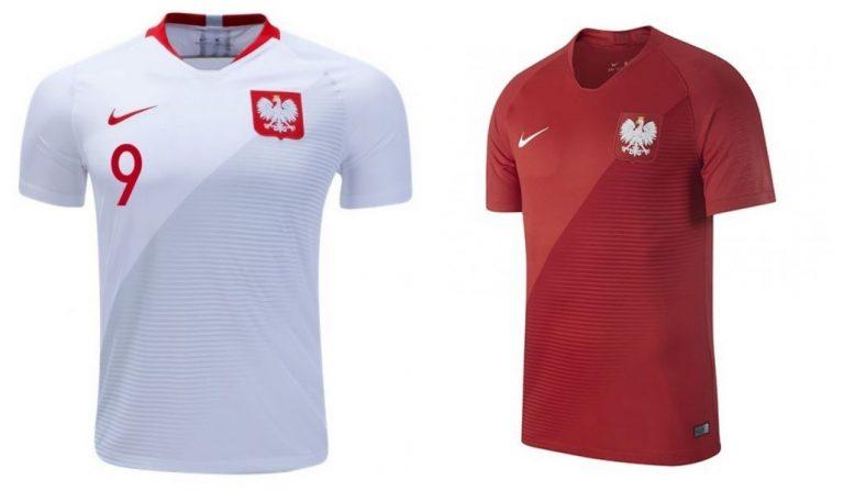 Camisa oficial e de reserva da seleção da Polônia