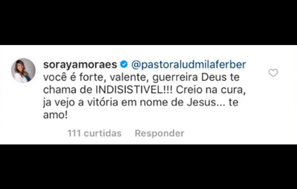 Mensagem da cantora Soraya Moraes