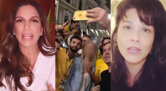 Ivete Sangalo e Samara Felippo estão entre famosos que protestaram contra comportamento de torcedores brasileiros na Copa do Mundo