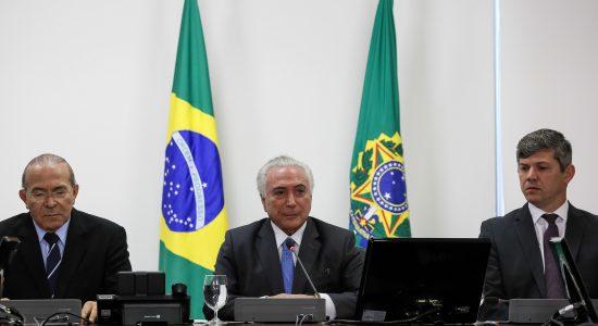 Presidente Michel Temer durante reunião para discutir o decreto de relicitações