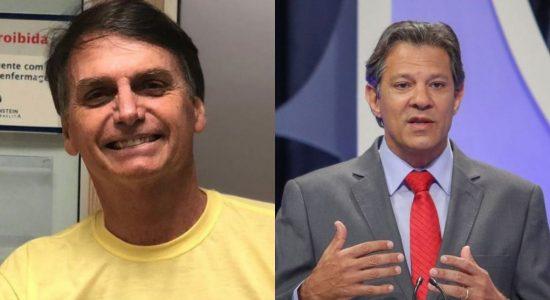 Os presenciáveis Jair Bolsonaro (PSL) e Fernando Haddad (PT)