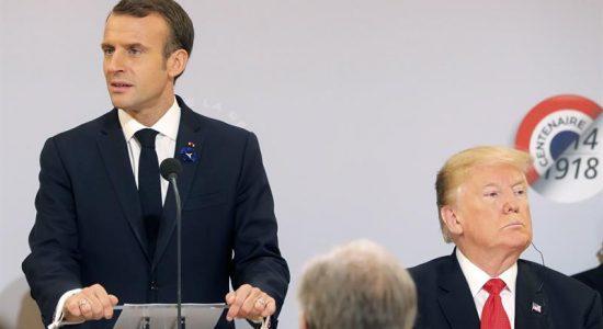 Emmanuel Macron e Donald Trump em encontro na semana passada