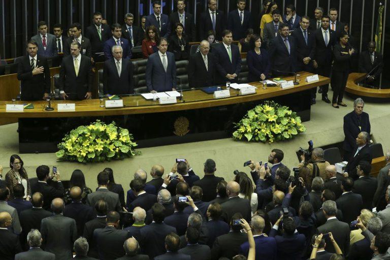 O presidente eleito Jair Bolsonaro,  participa no Congresso Nacional da sessão solene em comemoração aos 30 anos da Constituição Federal