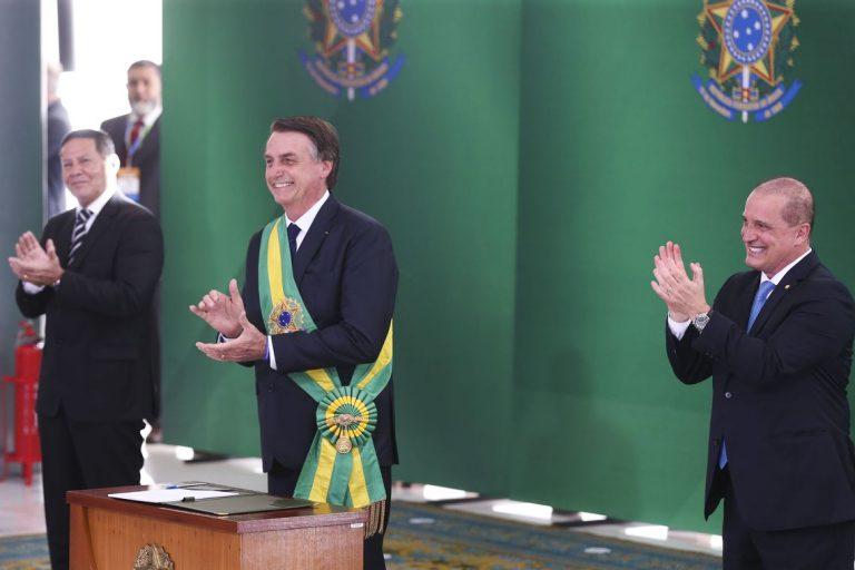 Presidente Jair Bolsonaro durante posse dos ministros