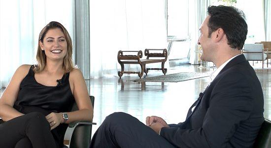 Michelle Bolsonaro em entrevista ao Domingo Espetacular