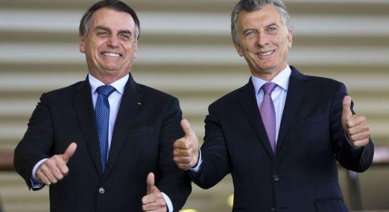 Mauricio Macri e Jair Bolsonaro se encontram em Brasília