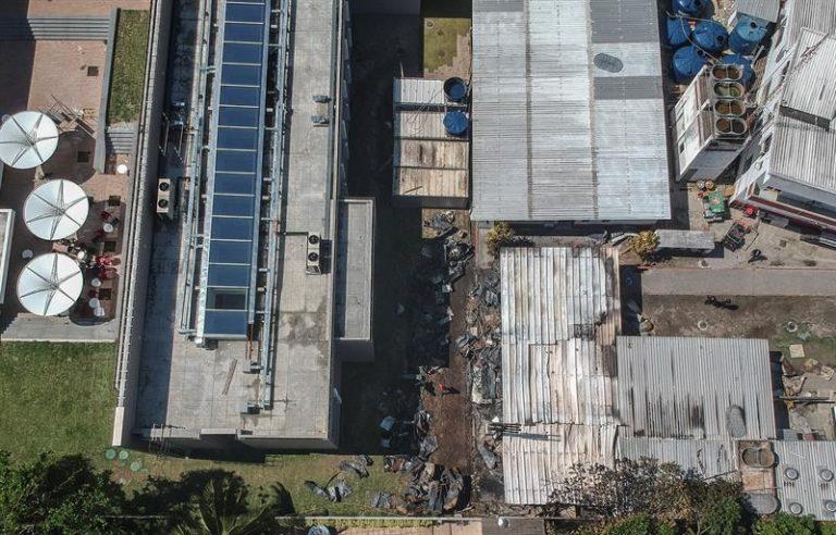 Local atingido pelo fogo, no CT do Flamengo
