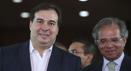 Presidente da Câmara dos Deputados, Rodrigo Maia, e ministro da Economia, Paulo Guedes