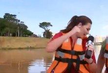 Barco com equipe afundou durante transmissão ao vivo