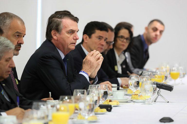 Presidente da República, Jair Bolsonaro durante café da manhã com jornalistas