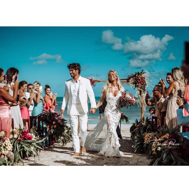 Caroline se casou em janeiro deste ano com o empresário Jorge Sestini