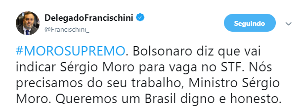 Usuários do Twitter fizeram campanha para apoiar a nomeação de Sergio Moro ao Supremo Tribunal Federal