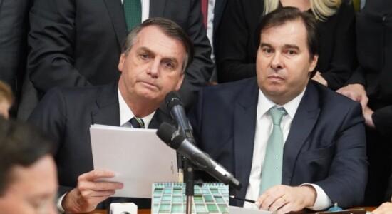 Presidente Jair Bolsonaro  e o presidente da Câmara dos Deputado, Rodrigo Maiae o presidente da Câmara dos Deputados, Rodrigo Maia