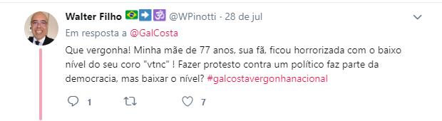 Usuários do Twitter ficaram decepcionados com Gal Costa após protesto da cantora contra Bolsonaro
