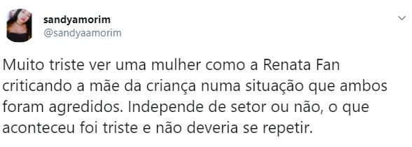Renata Fan foi alvo de críticas após culpar mãe agredida em jogo do Inter e do Grêmio