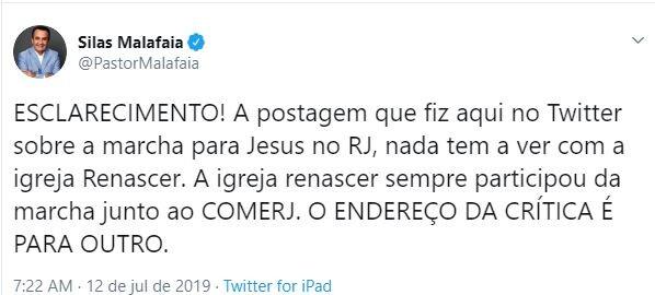 Silas Malafaia criticou a realização da Marcha Para Jesus no Rio de Janeiro