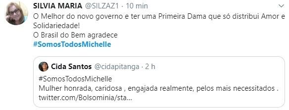 Michelle Bolsonaro recebe apoio da internet