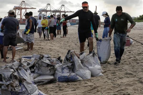 Voluntários retiram óleo de praias do Nordeste