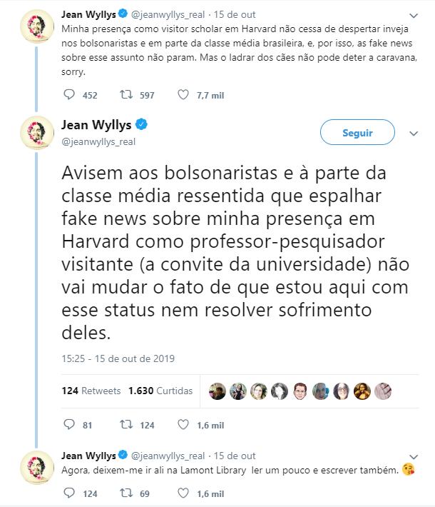 No Twitter, ex-deputado rebateu fake news