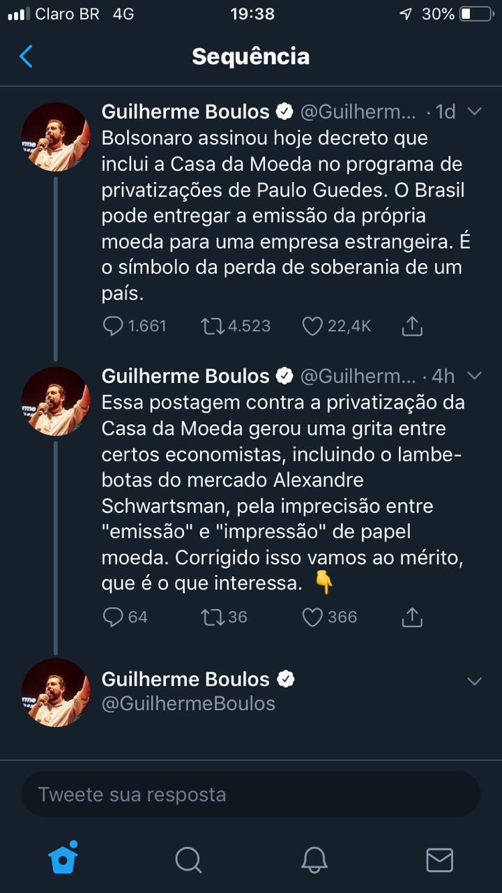 Boulos foi 'detonado' por usuários de rede social após criticar Guedes e Bolsonaro