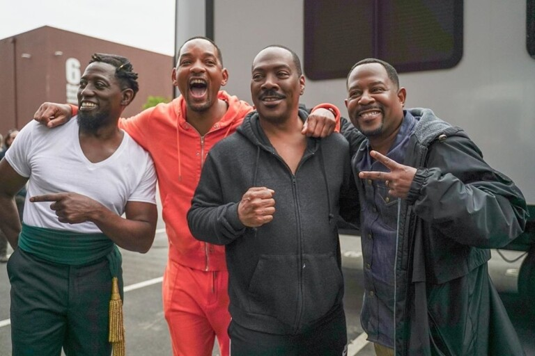 Will Smith, Martin Lawrence, Wesley Snipes e Eddie Murphy posam para foto