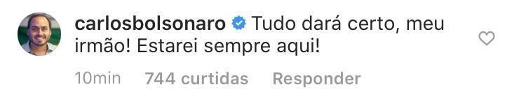 Carlos Bolsonaro deu seu apoio