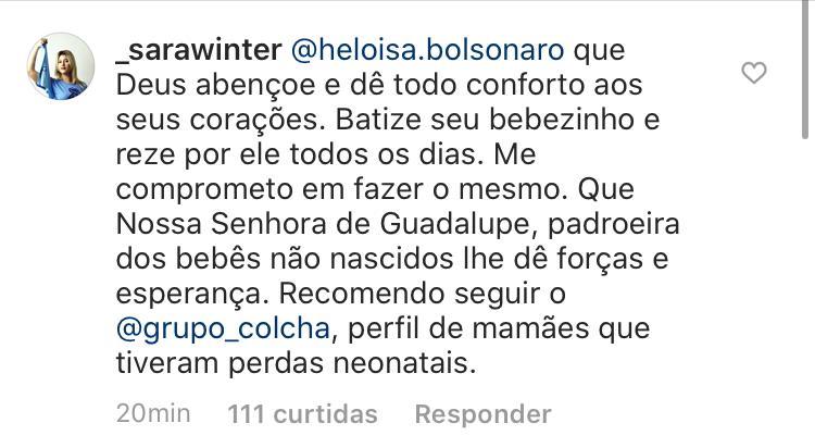 Sara Winter deu seu apoio