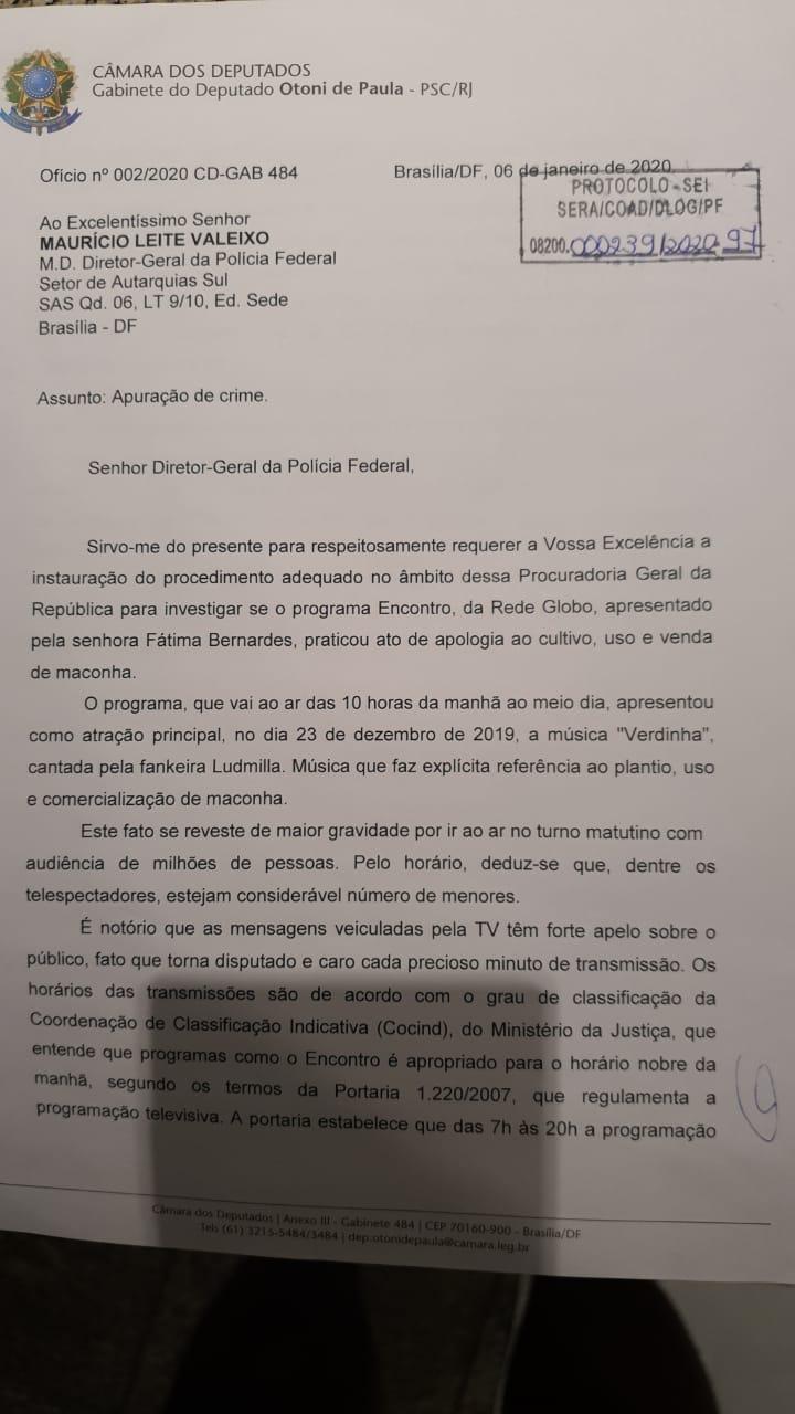 Deputado Otoni de Paula acionou a PGR e a PF