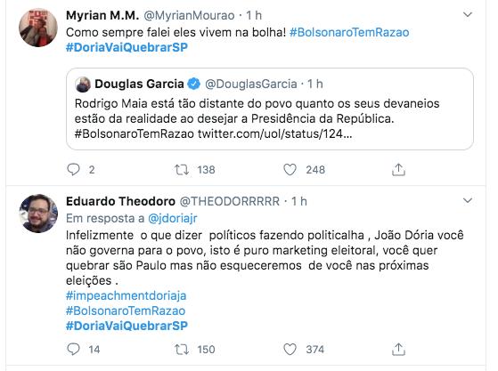 Usuários de rede social defendem que #DoriaVaiQuebrarSP