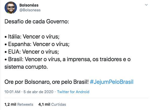 Usuários de rede social apoiam jejum proposto por Bolsonaro