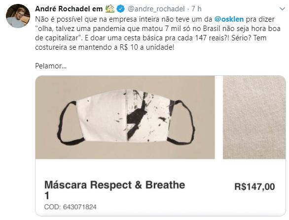 Marca é criticada por vender máscaras a R$ 147
