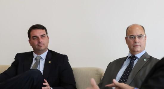 Senador Flávio Bolsonaro e governador do RJ, Wilson Witzel