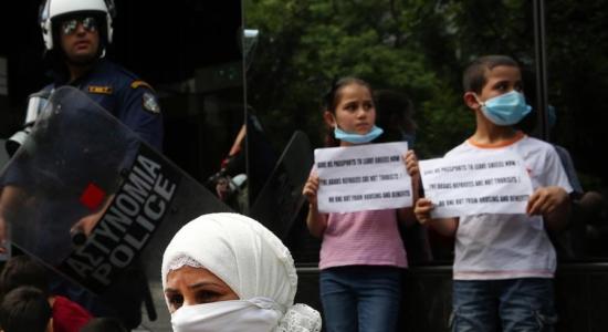 Em Atenas, houve protesto de refugiados da Síria e do Iraque
