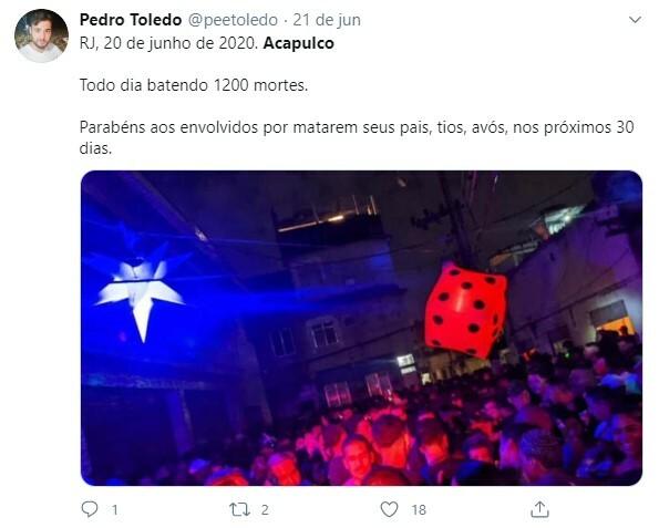 Redes sociais criticaram realização de bailes funk no RJ