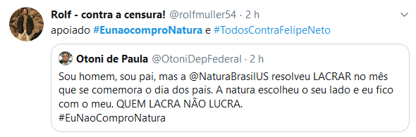 Internet intensifica boicote com #EuNaoComproNatura