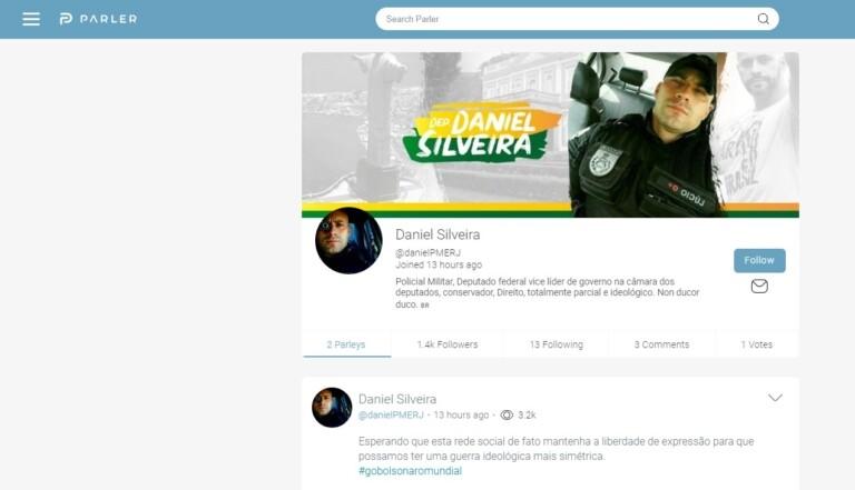 Perfil de Daniel Silveira no Parler