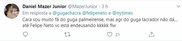 Internautas rebaterem declarações de Felipe Neto