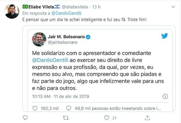 Usuários do Twitter fizeram duras críticas a Danilo Gentili