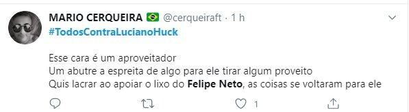 Web levantou a hashtag #TodosContraLucianoHuck