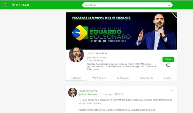 Perfil de Eduardo Bolsonaro no Parler