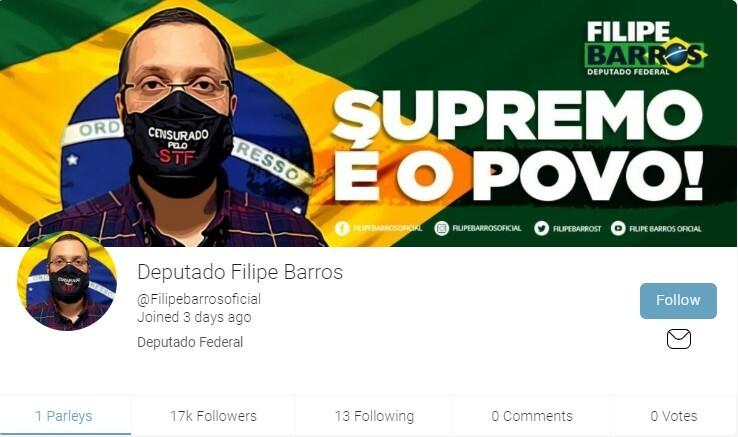 Perfil de Filipe Barros no Parler