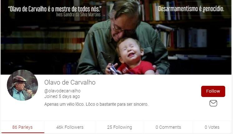 Perfil de Olavo de Carvalho no Parler
