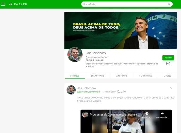 Perfil do presidente Jair Bolsonaro no Parler