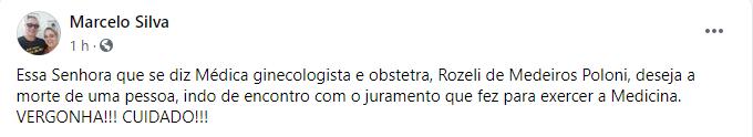Médica deseja morte de Bolsonaro e revolta